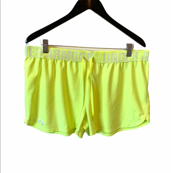 Under Armour neon yellow semi fitted short